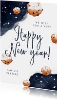 Nieuwjaarskaart oliebollen waterverf nacht