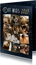 Nieuwjaarskaart overzicht op 2021 fotocollage met goud