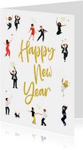Nieuwjaarskaart poppetjes met glitters
