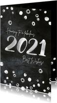 Nieuwjaarskaart relaties internationaal krijtbord