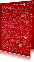 Nieuwjaarskaart rood geletterd