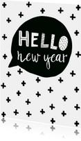 Nieuwjaarskaart tekstballon - WW