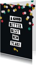 Nieuwjaarskaart typografie internationaal confetti