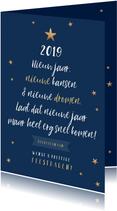 Nieuwjaarskaart typografisch kerstboom sterren