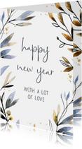 Nieuwjaarskaart waterverf blauw-goud