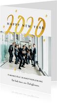 Nieuwjaarskaart zakelijk 2020 goud foto sterren