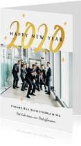 Nieuwjaarskaart zakelijk 2020 goud foto sterretjes