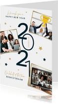 Nieuwjaarskaart zakelijk 2021 sterren fotocollage goud