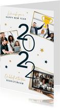 Nieuwjaarskaart zakelijk 2022 sterren fotocollage goud