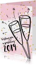 Nieuwjaarskaart zakelijk aquarel, confetti en champagne