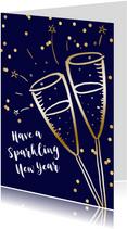 Nieuwjaarskaart zakelijk champagne goudlook confetti