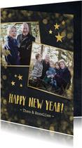 Nieuwjaarskaart zwart met goud en 2 eigen foto's