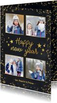 Nieuwjaarskaart zwart met goudlook confetti en sterren