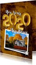 Nieuwjaarverhuiskaart 2020 ballon goud op watercolor print