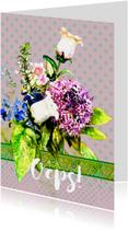 Oeps, te laat kaart met bos bloemen