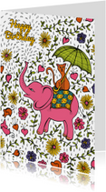 Olifant met poes op zijn rug met bloemen, takjes en druppels