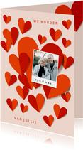 Oma en opa kaart met rode hartjes en foto