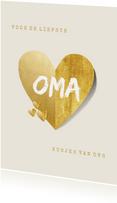 Oma kaart liefste met gouden hart