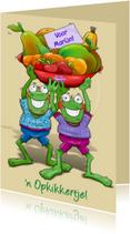 Opkikker met fruitschaal