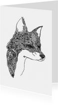 Originele kaart met vos illustratie zwart - wit