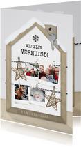 Originele kerst verhuiskaart met houten huisje fotocollage