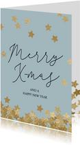 Originele kerstkaart Merry X-mas sterren goud