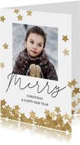 Originele kerstkaart met foto en confetti sterren