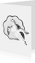 Orinele kaart met Schildpad illustratie zwart-wit