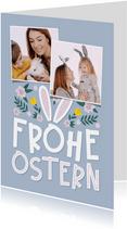 Ostergrußkarte mit Fotos und Hasenohren