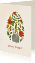 Ostergrußkarte Osterei aus Blumen mit Hase