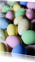 Osterkarte bunte Ostereier Pastellfarben