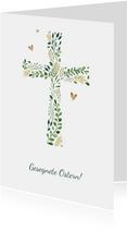 Osterkarte christlich Kreuz aus Zweigen
