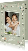 Osterkarte eigenes Foto mit Blumendeko