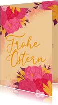Osterkarte mit Blüten