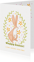 Osterkarte mit Häschen und floralem Motiv