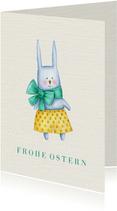 Osterkarte mit Osterhasen in Aquarelloptik