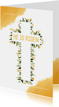 Paaskaart christelijk bloemen in kruis en gele waterverf