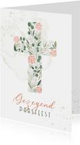 Paaskaart Gezegend paasfeest kruis van bloemen