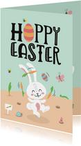 Paaskaart hoppy easter paashaas lente dieren vrolijk