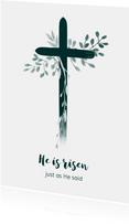 Paaskaart kruis met takjes, aanpasbare tekst