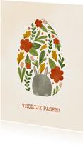 Paaskaart met bloemen en haasje in eivorm