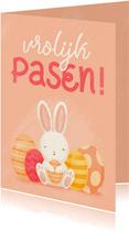 Paaskaart met konijntje en paaseieren vrolijk pasen