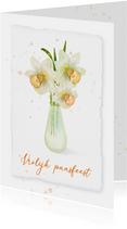 Paaskaart met narcissen in een groen vaasje