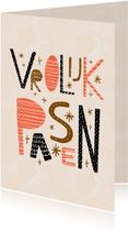 Paaskaart Vrolijk Pasen met versierde letters