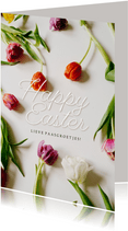 Paaskaartje Happy Easter kleurrijke tulpen