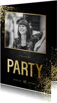 Party-Einladung goldene Typografie und Foto