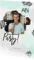 Partyeinladung Farbflecken mit Foto