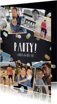 Partyeinladung Fotocollage auf Kreidetafel
