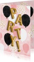 Partyeinladung mit Folienballons in Gold