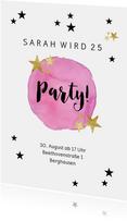 Partyeinladung mit rosa Wasserfarbe & Sternen